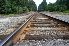 Lonely railroad tracks in the middle of nowhere. Railroad tracks leading through a forest of trees going on forever Royalty Free Stock Photo