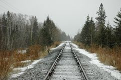 Lonely railroad tracks in snow Royalty Free Stock Image