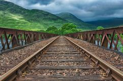Lonely Railway with Cloudy weather Stock Photography