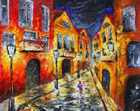 Lonely rainy night street. Original oil painting on canvas Royalty Free Stock Photo