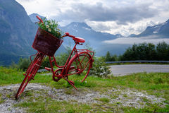 Lonely red decorative bicycle stands on a hillside, Geirangerfjord Stock Images