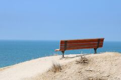 Free Lonely Red Painted Bench With Nice View On The Mediterranean Sea, Ashkelon, Israel. Low Key Filter Stock Photos - 182488963
