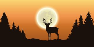 Lonely reindeer in forest at full moon and orange sky stock illustration
