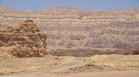 Lonely road. In the Arabian desert. Near Eilat. Timna Park royalty free stock images