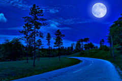 Lonely road in the country at night. Lonely road in the country illuminated by a bright full moon at midnight stock image