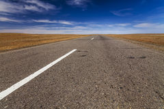 Lonely road in the desert Royalty Free Stock Image
