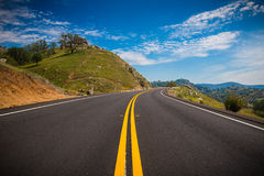 Lonely road in the foothills of the sierra nevada. Usa royalty free stock photo