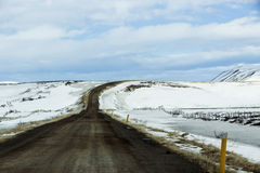 Lonely road in Iceland, wintertime Royalty Free Stock Photos