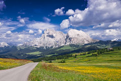 Lonely Road In The Italian Alps. A empty road in Alpe Di Siusi, in the Italian Alps Royalty Free Stock Photos