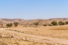 Lonely Road In The Negev Desert Stock Photo