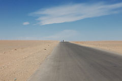 Lonely road in the sands of the Gobi Desert Royalty Free Stock Photography