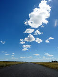 Lonely road under blue sky. Straight lonely road in the australian desert Royalty Free Stock Image