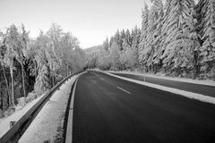 Lonely road in winter scenery Royalty Free Stock Images