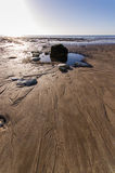 Lonely rock 2. Low tide at Danes dyke east yorkshire Royalty Free Stock Images