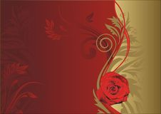 Lonely rose. Red rose on a gold and red background with a vegetative ornament Stock Image