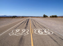 Lonely Route 66. Lonely section of historic Route 66 in California's Mojave desert Stock Photo