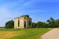 Lonely ruined building in the field Royalty Free Stock Images