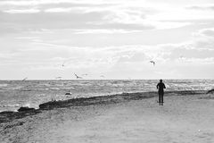 Lonely Runner. A lonely female runner on a winter beach on the beautiful Danish island Bornholm Royalty Free Stock Photos