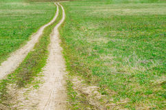 Lonely rural dirt road into the distance in a field with green grass. Stock Photography
