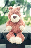 Lonely sad forgotten teddy bear toy. Awaiting for owner Royalty Free Stock Photography