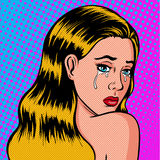 Lonely and sad girl is crying pop art. The daughter mourns. Vector illustration in comic style Stock Photos