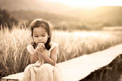 Lonely and sad little girl sitting on bamboo walkway. In the paddy field in vintage color tone stock photography