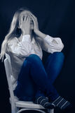 Lonely, Sad Or In Pain Young Woman Covering Face Royalty Free Stock Image