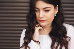 Lonely sad woman deep in thoughts Royalty Free Stock Image