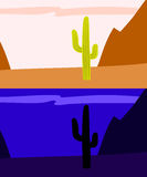 Lonely saguaro cactus in the desert, day and night view, vector. Background royalty free illustration