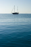 A lonely Sailboat. In the middle of the sea Stock Photography