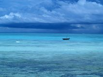 Lonely sailboat. In beautiful Indian Ocean. Island Zanzibar stock photography