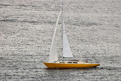 Lonely sailboat. Royalty Free Stock Images