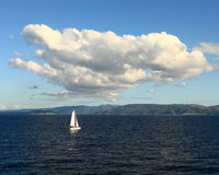 Lonely sailboat (Croatia) Royalty Free Stock Image