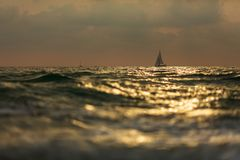 Lonely sailboat in the storm at sunset stock image