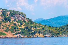 Lonely sailing yacht moored Royalty Free Stock Image