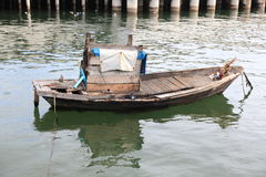 Lonely in the sea. Oldboat floating  thailand Royalty Free Stock Images