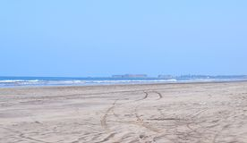 Lonely Secluded Sandy Beach - Karde Beach, India Royalty Free Stock Photo
