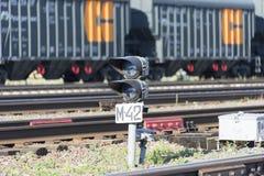 Lonely semaphore on the railway stock image