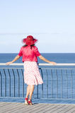 Lonely sexy Mature woman ocean background Stock Images