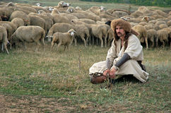 Lonely shepherd with sheep on green meadow. Traditional culture Stock Photo