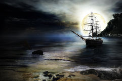pirate ship at night