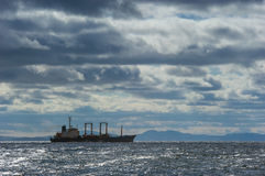 Lonely ship in a stormy sea. Stock Photography