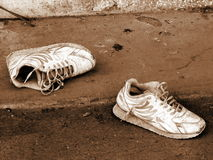 Lonely shoes. Shoes left alone in a back street. Nicosia. Cyprus Stock Photo
