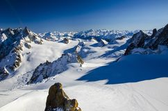 Lonely ski slope in the top of french Alps. Best place for skiing in Chamonix Mont Blanc. stock images