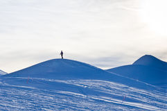 Lonely skier near the top of Kaprun glacier Stock Image