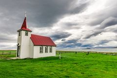 Lonely small church on the coast, Iceland. Europe Royalty Free Stock Photo