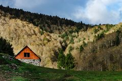 Lonely small house high in the mountains on forest background, s Stock Image