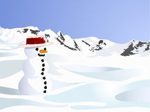 Lonely snow doll on the snow hill. Illustration of lonely snow doll on the snow hill with rock and blue sky background Royalty Free Stock Image