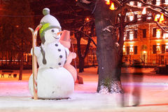 Lonely snowman in the park Royalty Free Stock Photo
