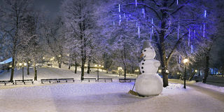 Lonely snowman in winter night Royalty Free Stock Images